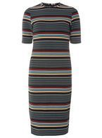 Womens Black And White Stripe Bodycon Dress- Black