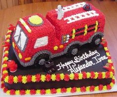 Fire Truck birthday cake for son of a fireman - Birthday Cake Flower Ideen Birthday Cake For Son, Firefighter Birthday Cakes, Fireman Cake, Truck Birthday Cakes, Fireman Birthday, Fireman Party, Happy Birthday, 9th Birthday, Birthday Ideas