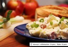 Virslis-almás-majonézes saláta Quiche Muffins, Salad Dressing, Potato Salad, Mashed Potatoes, Healthy Recipes, Healthy Food, Dishes, Meat, Vegetables