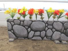 Diy walls & flower boxes. Flower box made of plywood and paint something on it!