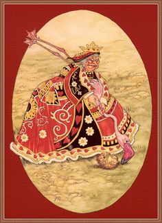 """*QUEEN OF HEARTS ~ Angel Dominguez and his illustrations for """"Alice in Wonderland"""" - Fair Masters - handmade, handmade Alice In Wonderland Illustrations, Alice In Wonderland Book, Adventures In Wonderland, Alice Book, Rose Trees, Growing Roses, Lewis Carroll, Through The Looking Glass, Tea Party"""