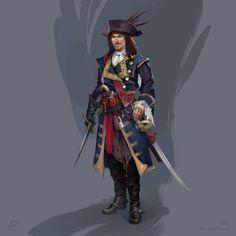 ArtStation - And another one pirate, Ola Karambola Starodubtseva Fantasy Races, Fantasy Armor, High Fantasy, Medieval Fantasy, 2d Character, Character Concept, Concept Art, Character Design, Girls Characters