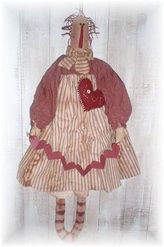 Primitive Sweetheart Annie Raggedy by PrindleMountainPrims on Etsy