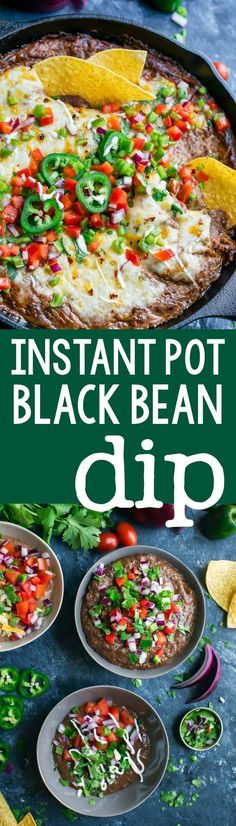 Instant Pot Black Bean Dip is a total breeze to throw together! No cans needed! Simply grab a bag of dried beans and get ready for a party-perfect vegetarian dip that's easy, make-ahead, and SO delicious! Mexican Food Recipes, Vegetarian Recipes, Healthy Recipes, Dip Recipes, Chinese Recipes, Mexican Dishes, Seafood Recipes, Vegan Vegetarian, Easy Recipes