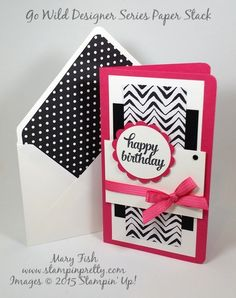 Mojo Monday Happy Birthday Card - http://stampinpretty.com/2015/06/mojo-monday-happy-birthday-card.html  I adore this striking combination of Melon Mambo and Stampin' Up! Go Wild Designer Series Paper.  Full details on this Tin of Cards birthday card on my Stampin' Pretty demonstrator blog.  Mary Fish, #stampinup, #stampingup
