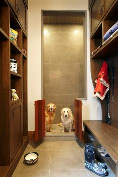 Dog Bath Design, Dog Washing Station With Gray Marble Tile Wall Also Wooden Short Double Door Also Two Golden Retriever Dog Also Brown Wooden Cabinet For Dog Needs And Some Dog Strap: Ideas for Dog Wash Station Pet Washing Station, Pet Station, Dog Design, House Design, Bath Design, Rustic Entry, Rustic Laundry Rooms, Dog Spaces, Dog Wash