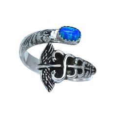 Opal Medical Caduceus Sterling Silver Gemstone Adjustable Spoon Ring... ($55) ❤ liked on Polyvore