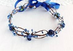 Royal Blue Bridal Crown Something Blue Halo by HandyCraftTS