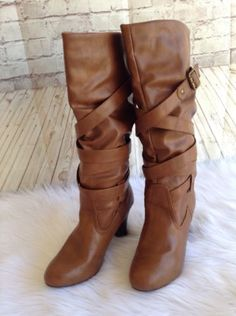 Madden-Girl-Strappy-Buckle-Brown-Pinup-Tall-Boots-Size-8-5