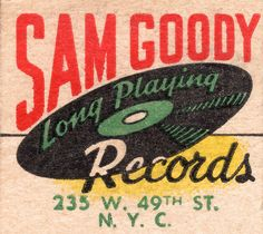 Tribute poster of Sam Goody Long Playing Records, New York City's legendary discount record shop of the Vintage Labels, Vintage Ephemera, Vintage Ads, Vintage Prints, Vintage Posters, Retro Ads, Vintage Branding, Retro Record Player, Home Music