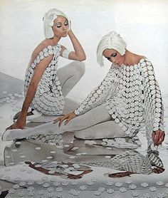 1960s fashion by Paco Rabanne white medallion tunic dress metal plastic mesh designer couture mod space age vintage