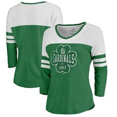 Women's St. Louis Cardinals St. Patrick's Day Tee Shirt.  St. Paddy's Day MLB apparel designed just for the ladies in S, M, L, XL, 2X (XXL), 3X (3XL). #womens #mlbteeshirts #stpatricksday