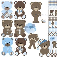 INSTANT DOWNLOAD Baby Boy Teddy Bear Clip Art and by digitalfield