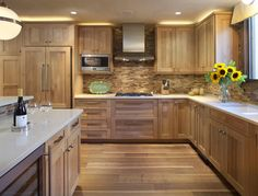 Oak Kitchen Cabinets Modern With White Wood Tile Backsplash