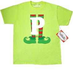 dfe7266c0c6d6 Inktastic Christmas Elf Feet Letter P Monogram T-Shirt Red And Green Holiday  Cute Kids Elves Name Alphabet Santa Initial Monogrammed Hat Mens Adult  Clothing ...