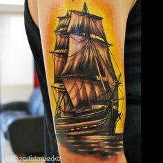 @theartistmuecke custom ship tattoo, freehand art, tattoo, boat, sailboat, ocean art, color tattoo, sleeve, tattoo ideas, awesome tattoos. Muecketattoos.com