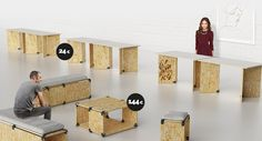 Introducing The PlayWood OSB Collection   Build a strong relationship between #customers and your #brand. Furniture and decoration are very important as they help to give an #exhibitionspace the right character; It is an opportunity to send a message, interact with people, leave a long lasting impression and sell products. #osb #furniture