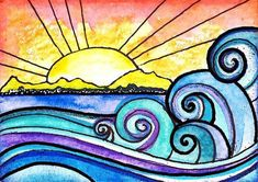 The Shore 8 x 10 sunset sun art print painting beach waves ocean art print water beach painting waves print sunrise art Warm And Cool Colors, Sun Art, Wave Art, Ocean Art, Elementary Art, Watercolor And Ink, Handmade Art, Doodle Art, Fine Art America
