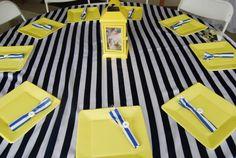 Centerpieces. Yellow lantern. Nautical baby girl shower! Yellow, Navy blue and white.