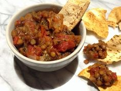 nesscooks: Eggplant Dip with Tomatoes, Onions & Lentils Chana Masala, Lentils, Onions, Eggplant, Tomatoes, Dips, Healthy, Ethnic Recipes, Food