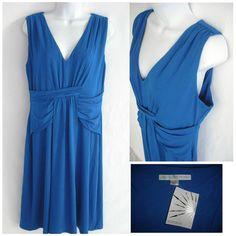 NEW BOSTON PROPER DRESS V Neck Slinky Stretch Drape V Neck Blue Size M $129  #BostonProper #Drape #Cocktail