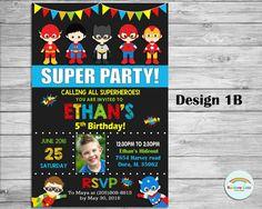 Superhero Personalized Invitation Super Hero by RainbowLaneDesigns