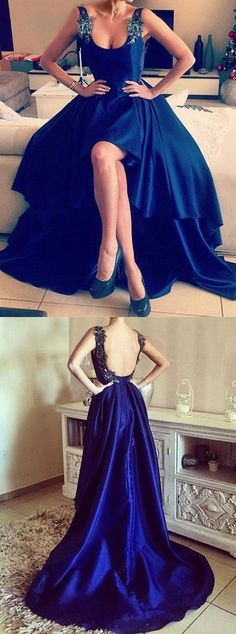prom dresses, hi-low evening gowns, navy backless party dresses, 2017 prom dresses with beading