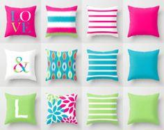 Almohadilla de tiro cubre buceo rosa caliente cal azul acento almohada cubierta sofá cubierta adolescentes sala decoración chicas habitación almohada fundas