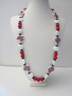 White, Red and Black necklace with cherry blossom beads and red fossil beads, long necklace. Necklace is 30 long. Rustic Wedding Jewelry, Fall Jewelry, Unique Jewelry, Beaded Necklace, Necklaces, Summer Necklace, Red And White, Black, Fossil