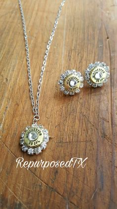 38 caliber bullet casing jewelry set by RepurposedRelicsTX Bullet Shell Jewelry, Shotgun Shell Jewelry, Bullet Casing Jewelry, Ammo Jewelry, Bullet Earrings, Cute Jewelry, Jewelry Crafts, Jewelery, Jewelry Necklaces