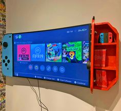 Wall-Mounted Cabinets Turn Your TV Into a Giant Nintendo Switch - Nintendo Switch TV Cabinets Nintendo Room, Super Nintendo, Nintendo Decor, Video Game Rooms, Teen Game Rooms, Video Game Bedroom, Boys Game Room, Small Game Rooms, Video Game Decor