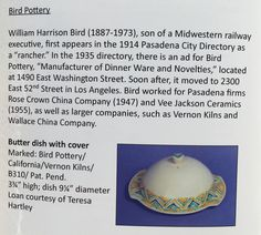 Cast & Fired: Pasadena's Mid-Century Ceramics Industry at the Pasadena Museum of History (Sept. 21, 2016 - Feb. 12, 2017) featured this one example in their exhibition and book (p.10). Note: newly discovered information (March 2017) suggests Harry Bird's employment at Wallace may have been based on some earlier mis-information and is now in doubt.