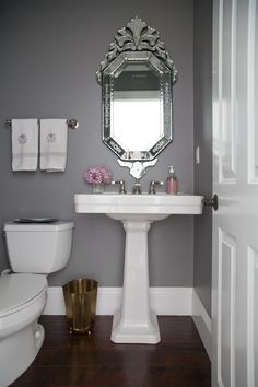 studio-mcgee.com - grey powder room, Benj Moore Chelsea Gray, venetian mirror ebay, brass wastebasket