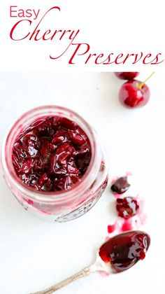 These Cherry Preserves are quick and easy! There is just one simple addition that makes them tower over all the rest! Stock up on Summer's bounty and enjoy all year! Easier than cherry pie! Cherry Desserts, Cherry Recipes, Christmas Desserts, Top Recipes, Recipies, Jelly Recipes, Canning Recipes, Ricotta, Brunch Recipes