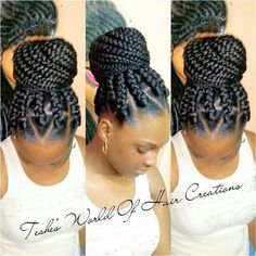 Box braids in braided bun Tied to the front of the head, the braids form a voluminous chignon perfect for an evening look. Box braids in side hair Placed on the shoulder… Continue Reading → Big Box Braids Hairstyles, Braided Bun Hairstyles, Braided Hairstyles For Black Women, African Braids Hairstyles, Box Braids Updo, Cornrows Updo, Big Braids, Hairstyles Videos, Chunky Box Braids