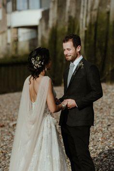 8e6f90d3c7e Bride Bridal Dress Gown Illusion Lace Cape Veil Gemy Maalouf Brunel Museum  Wedding Olivia and Dan
