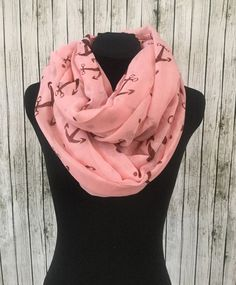 Pink brown anchor infinity scarf by NativeBabydoll on Etsy