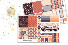 Each weekly purple and orange kit includes two kiss cut sheets of planner stickers, designed to fit in your Erin Condren Life Planner. Each two sheet kit includes:  8 full boxes 4 half boxes 4 quarter boxes 1 weekly habit tracker with blanks for 2 habits 7 checklists 3 horizontal flags 3 vertical flags 3 dewdrops 8 icons 2 ombre half boxes 1 weekend banner 2 cancelled/rescheduled diagonal stickers 4 headers stating: To Do, To Go, To Buy, Odds and Ends   Select Plus Add Ons from dropdown menu…