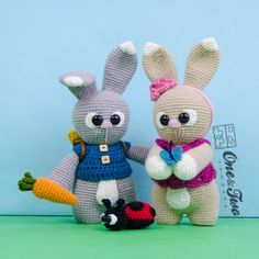 """Lola and Lance the Little Bunnies """"Little Explorer Series"""" Amigurumi Crochet Pattern by One and Two Company"""