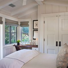 master bedroom. love the closet doors.
