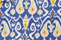 2.5 Yards Ikat Cotton Voile Print Fabric for garment Natural Dyes Sanganer FB-48 #Handmade