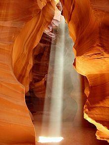 A beam of sunlight enters the Upper Antelope Canyon, Arizona