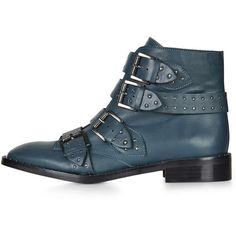 TopShop Limited Edition Paige Boots (£125) ❤ liked on Polyvore featuring shoes, boots, ankle boots, blue, blue bootie, leather boots, genuine leather boots, blue leather shoes and blue boots