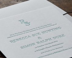 A luxury wedding invitation with an intertwined monogram of your initials. Beautifully packaged in a folding-envelope and sealed with a bespoke wax stamp, this is handprinted in the UK. Classic Wedding Stationery, Letterpress Wedding Stationery, Luxury Wedding Invitations, Letterpress Printing, Invitation Set, Invites, Save The Date Designs, Wax Seal Stamp, In Writing
