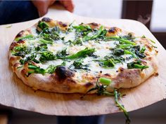 Jim Lahey's No Knead Pizza with Broccoli Rabe, Garlic, Ginger, and Thai Chilis | Serious Eats : Recipes