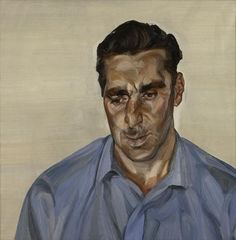 Man in Blue Shirt - Freud's ability to probe beneath the skin to reveal the interior being – is the portrait of George Dyer, Francis Bacon's lover, made in 1965. Dyer looks down, a troubled expression on his face. While Bacon's paintings depicted him as a turbulent character, Freud shows him to be a more vulnerable man. He paints his harelip and his broken nose. The redness of his exposed chest is made more intense by the blueness of his shirt.