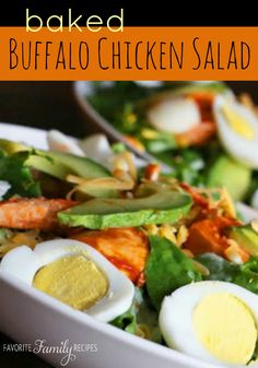 This Baked Buffalo Chicken Salad is a guiltless version of a restaurant BBQ chicken salad. The chicken is so flavorful! #saladrecipe #buffalochickensalad