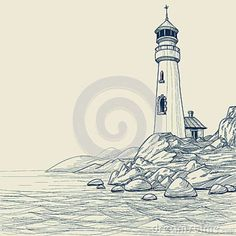 light house drawings | Lighthouse Drawing Royalty Free Stock Photos - Image: 25696208