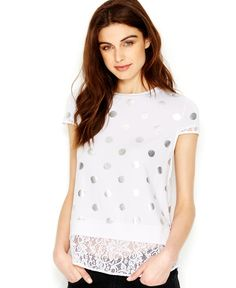 kensie Foil-Printed Lace-Trim Top