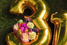Anagram Balloons @ohjoystudio Floral arrangement in giant number balloon! Happy 31st Bday